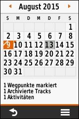 GARMIN eTrex Touch 25/35 - Kalender
