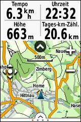 GARMIN eTrex Touch 25/35 - Topografische Europakarte Detail mit Anzeige